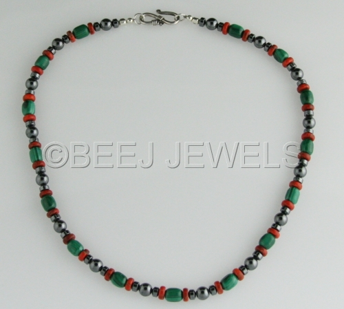 Red Coral Hematite Necklace - ALTAIR (large view)