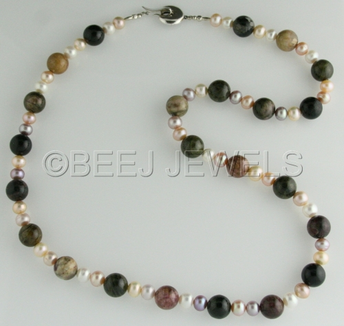 Multi-Color Tourmaline and Pearl Neckace - ALTERF by BEEJ JEWELS