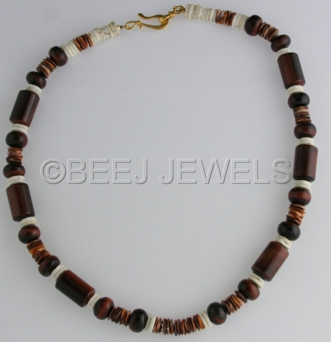 Red Tiger Eye and Brown Tiger Eye and Ostrich EggShell Necklace - ALSCIAUKAT by BEEJ JEWELS