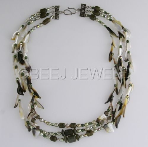 Green Labradorite and Mother of Pearl Flute & Leaf Multi-Strand Necklace - ALBALDAH (large view)
