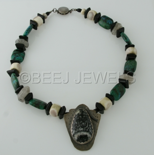 Hand Fabricated Silver Pendant with Orbiular Granite Cabachon and Azurite/Malachite Pyrite Necklace - DENEBOLA