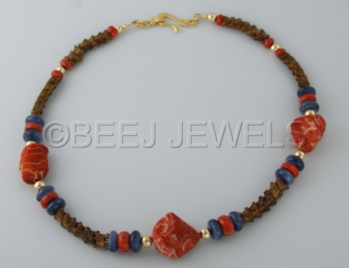 Tibetan Rat Snake Vertebrae and Natural Red China Coral Necklace With Red Sponge Coral and Blue Kyanite, Round Gold Beads - DUBHE