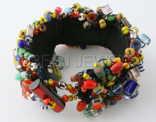 Beaded Crochet Leather Bracelet - ALDERAMIN