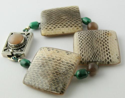 EEL Skin Malachite Moonstone Bracelet - ACHIRD (large view)