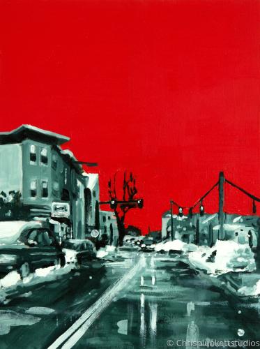 Adams Street Red Sky