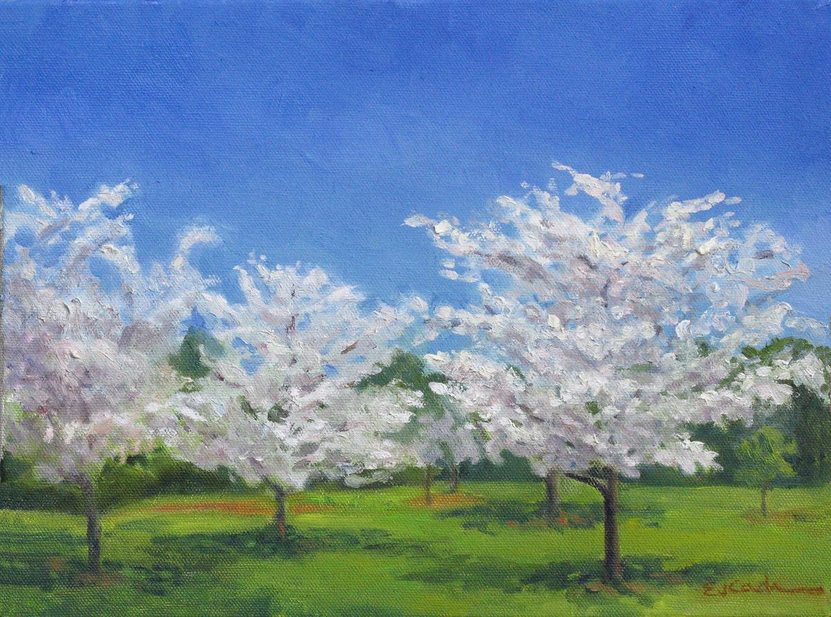 Painting flowering trees original art by elizabeth j cadwalader flowering trees izmirmasajfo