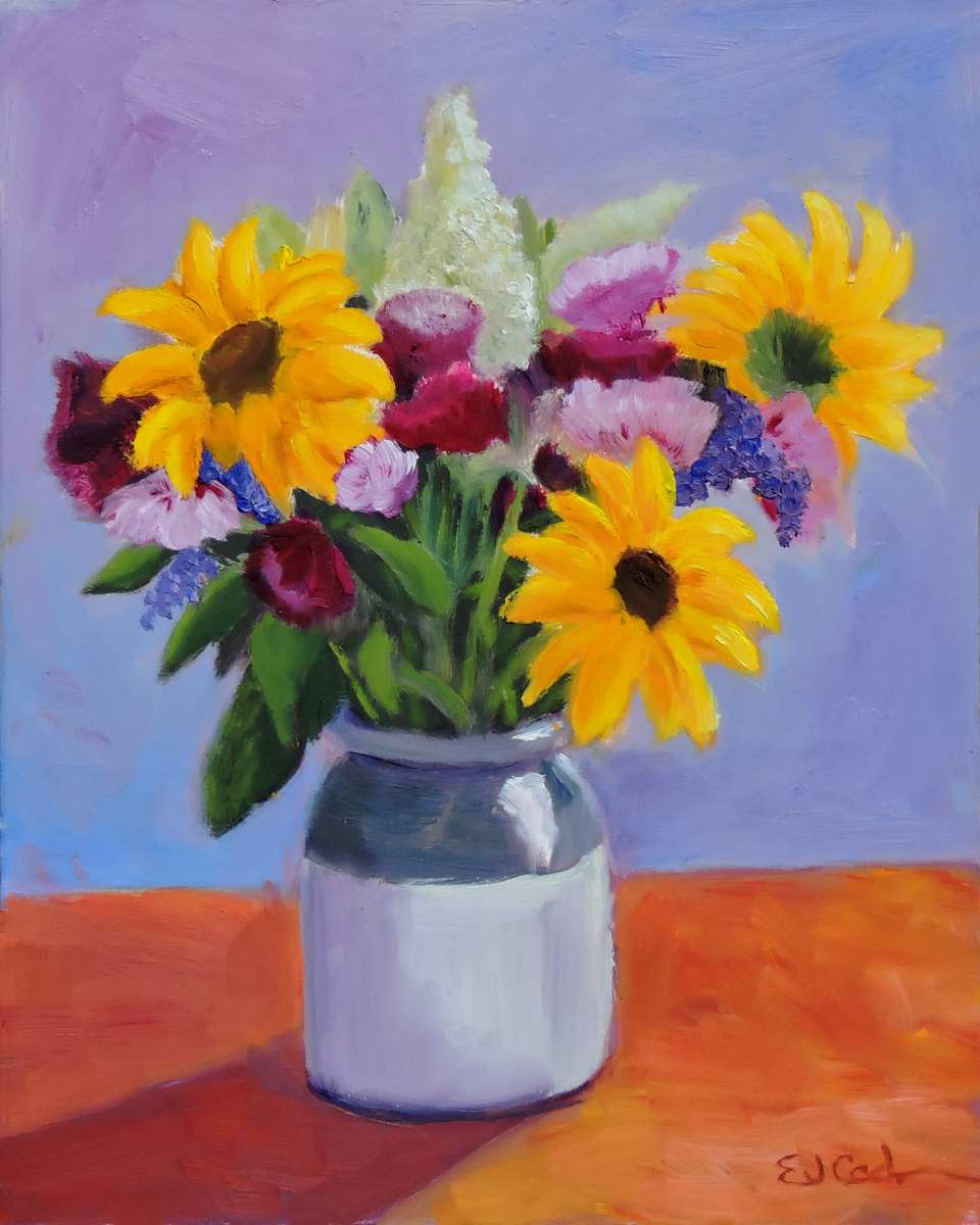 Sunflower Bouquet in White Pot (large view)