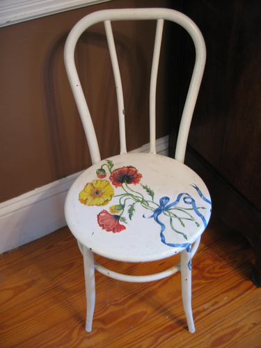 Poppy's painted on an Antique Ice Cream Chair (large view)