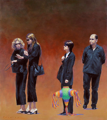 Figures in Black with Pinata