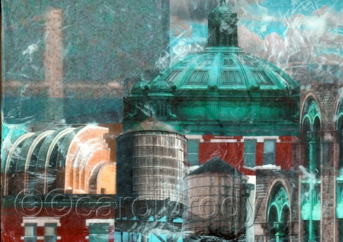 Green Dome NY Collage PRINT by CAROL BRODY ART
