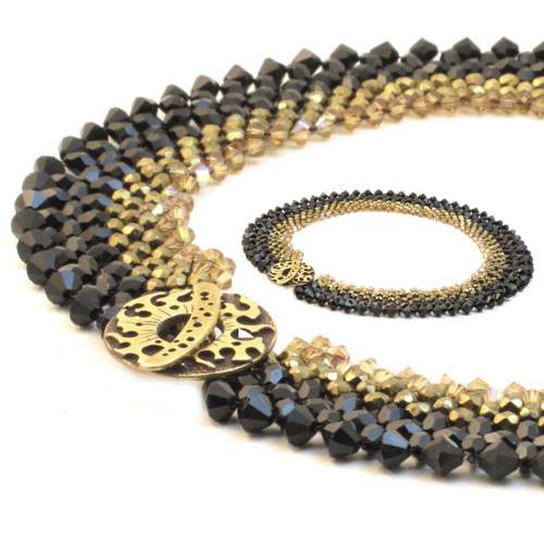 Black & gold Swarovsi crystal choker by Carol Brody Luchs (large view)