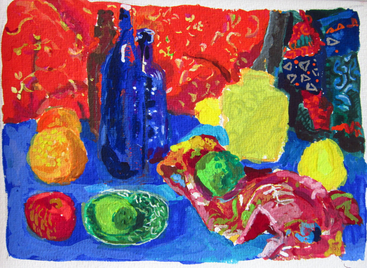 Red Bottles, Blue Cloth III (large view)