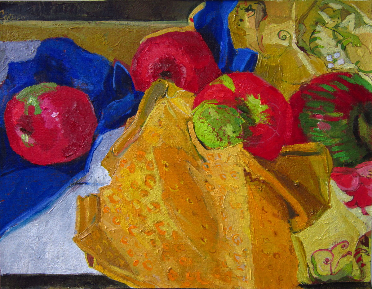 Four Apples on a Yellow Cloth (large view)