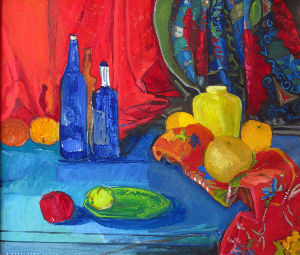 Red Cloth, Blue Bottles I (large view)
