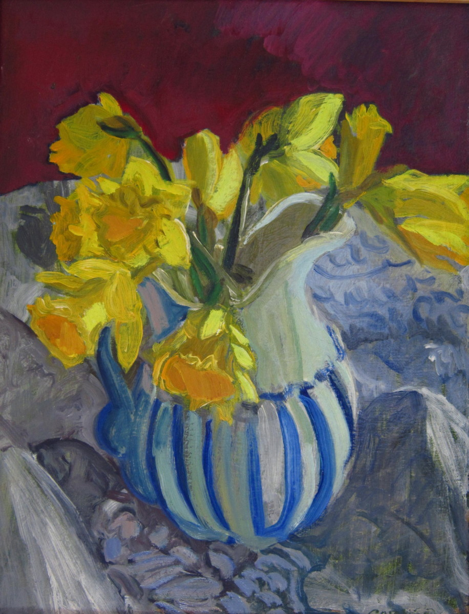 Daffodils in Striped Pitcher (large view)