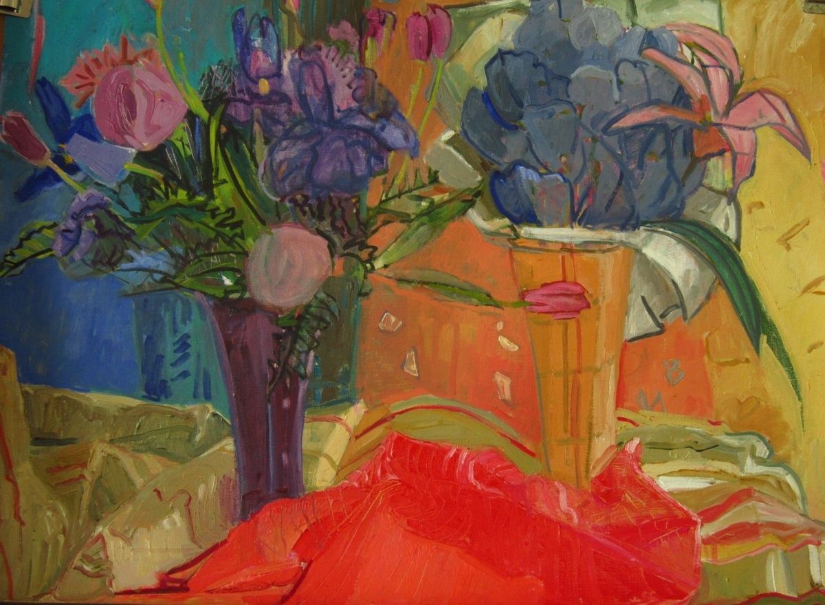 Mauve Roses and Purple Cabbage (large view)