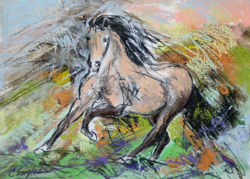 Buckskin Horse at a Gallop by Carol Engles Art