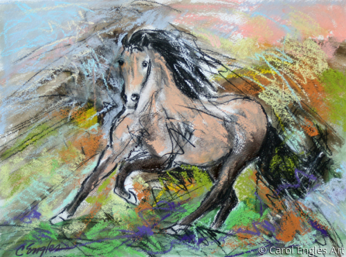 Buckskin at a Gallop by Carol Engles Art