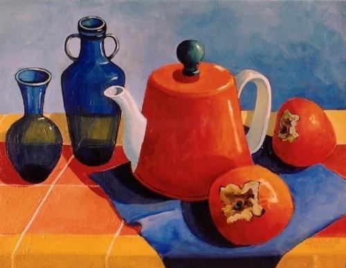 13. Orange Teapot & Persimmons