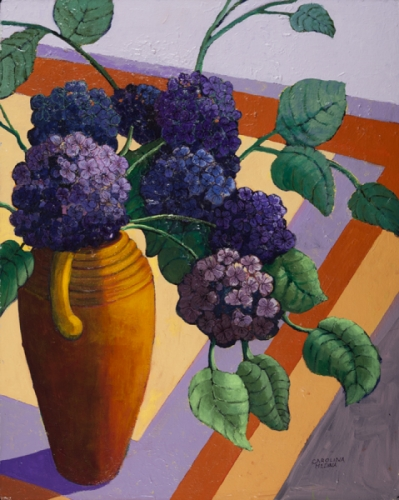 4. Purple Flowers on an Orange Table