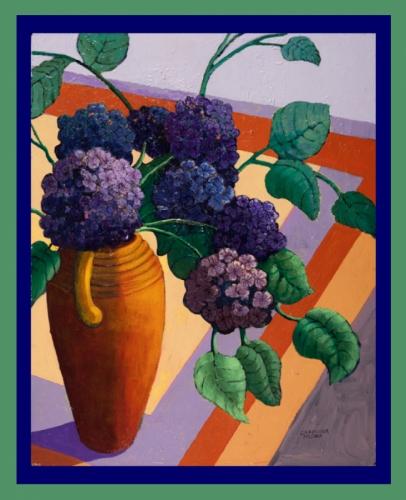 Purple Flowers on Orange Table - Weekly Special
