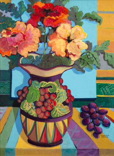 17 - Orange Flowers and Purple Grapes