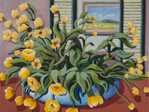 18 - Yellow Flowers in a Blue Planter