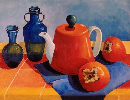15 - Orange Teapot and Persimmons