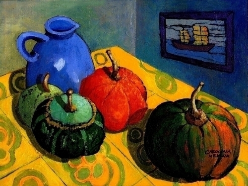 9 - Gourds on a Yellow Table