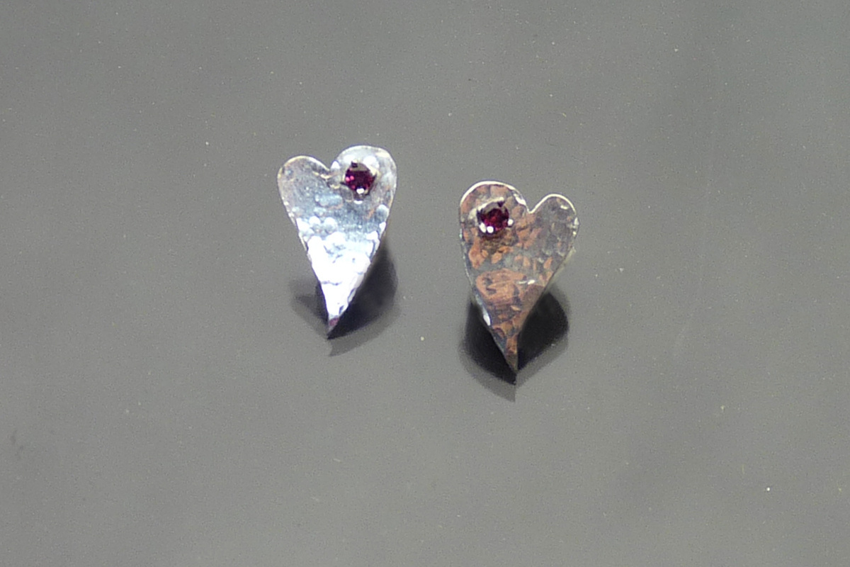 Untamed Heart Sterling Earrings with Garnets (large view)