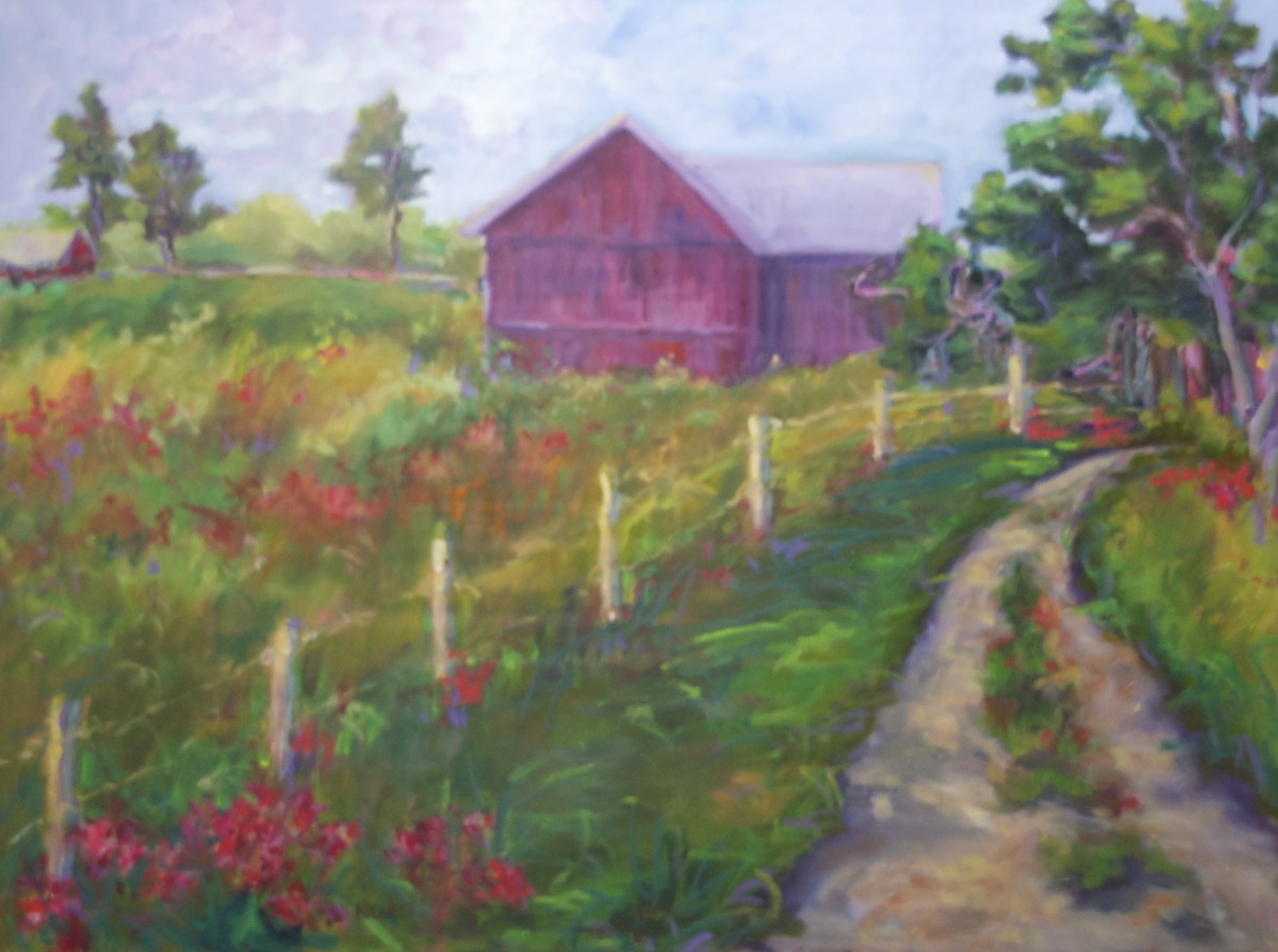 A summer country scene, with path, and barn. (large view)