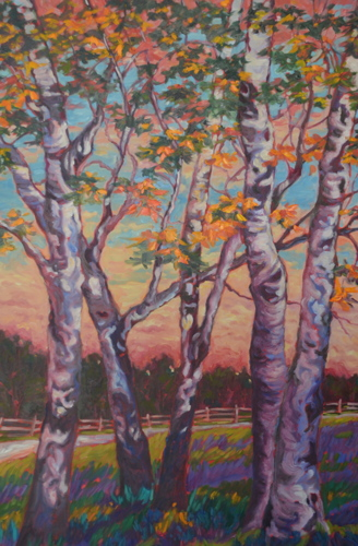 October Birches by Medhurst Paintings