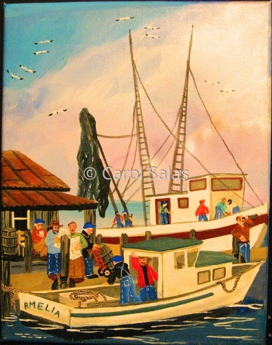 Shrimp Boats triptych Panel 2