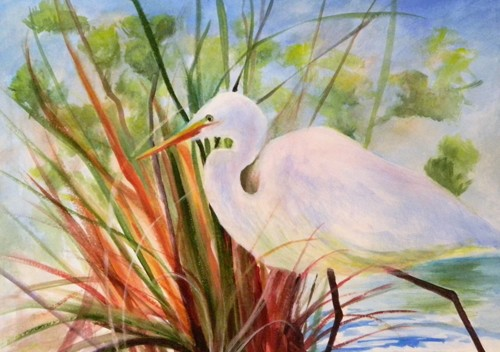 Egret By The Lake