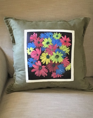 Handpainted Floral Pillow