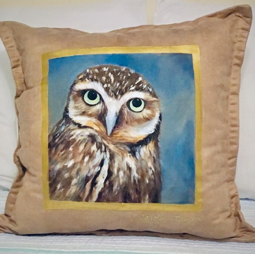 Burrowing Owl Handpainted Pillow