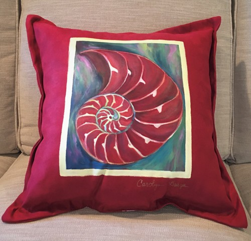Red Shell Painted Pillow