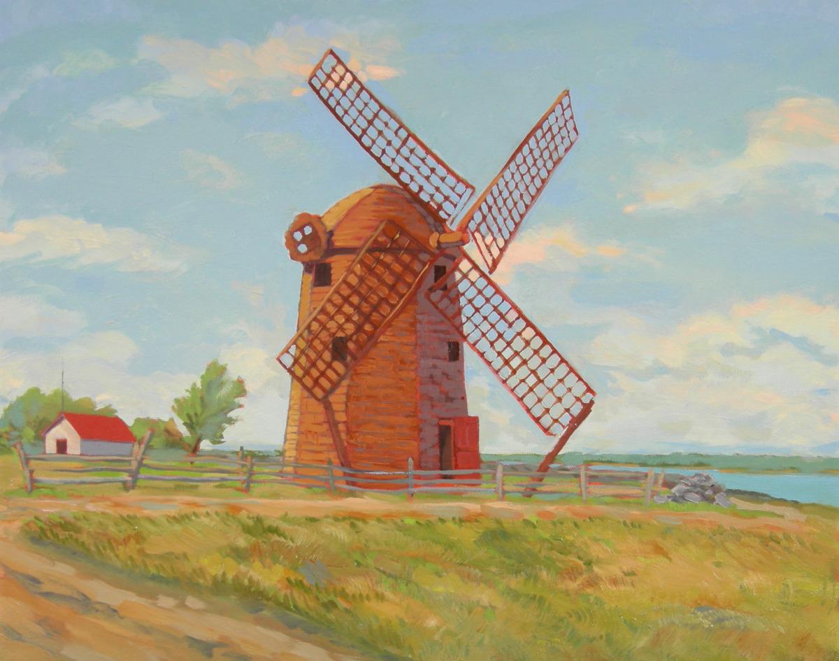 Jamestown RI windmill overlooking Narragansett Bay toward Newport (large view)