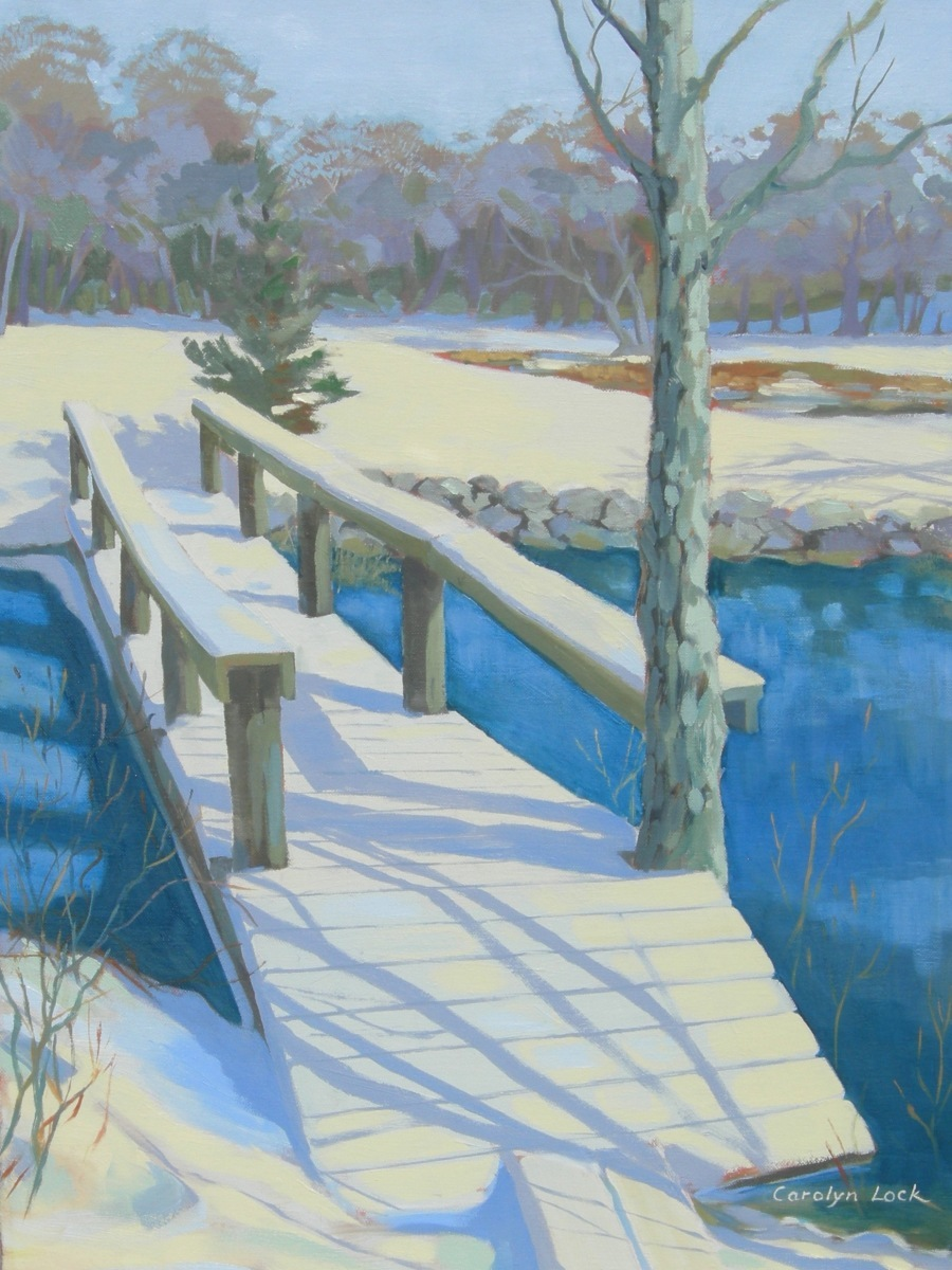 Snow-covered footbridge over an icy stream (large view)