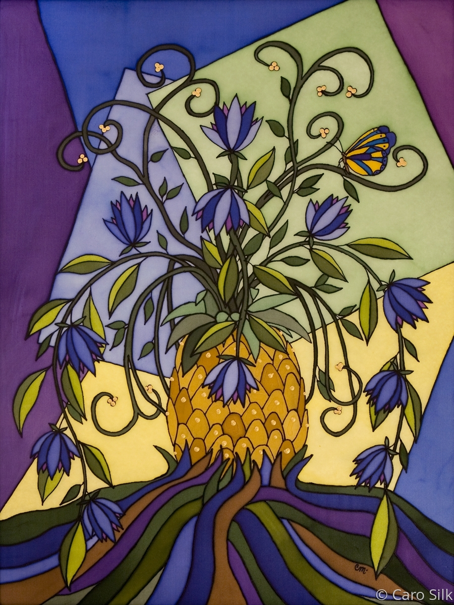 With flowers growing out of a pineapple, butterfly and happy colors, this silk painting radiates happiness. (large view)