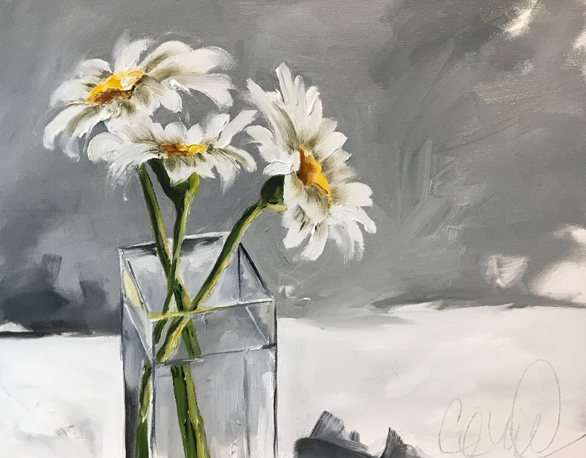Study in White-Three Daisies (large view)
