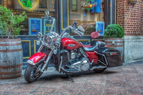 Harley in downtown