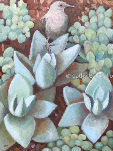Succulents with Bird by Cathy Ciardiello Fine Art