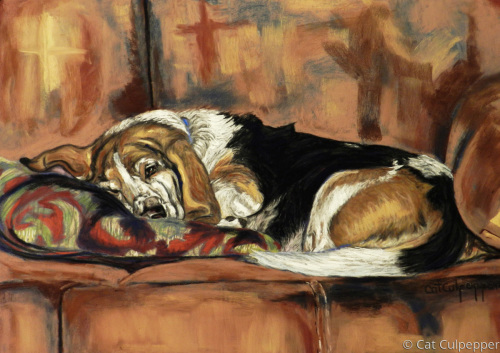 Bassetthound  by Commissioned Pet Portraits Artist Cat Culpepper