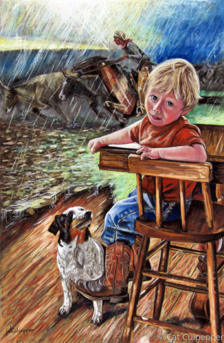Boy Interrupted  by Commissioned Pet Portraits Artist Cat Culpepper