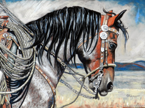 Bay Roan by Commissioned Pet Portraits Artist Cat Culpepper