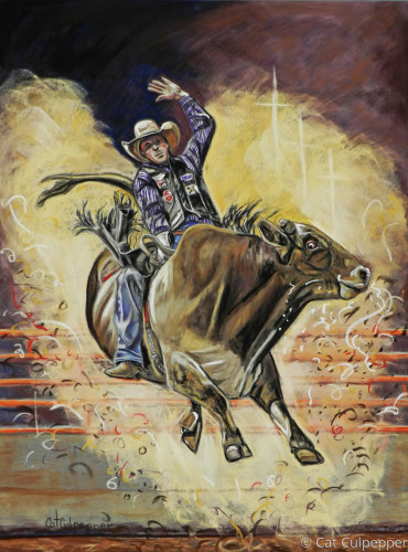 Bull Rider by Commissioned Pet Portraits Artist Cat Culpepper