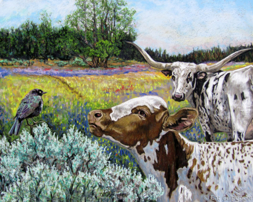 Early Spring Conversations by Commissioned Pet Portraits Artist Cat Culpepper