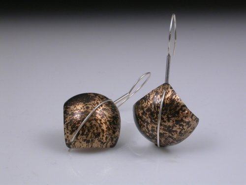 Domed Square Earrings (large view)