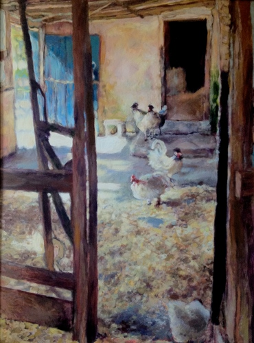 """Morning Light/Interior with Chickens"""